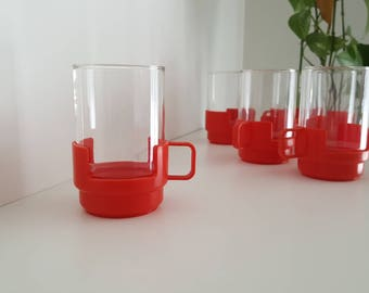 Six Space Age Drinking Glasses - 6 oz - JAJ Pyrex Drink Ups - Red Plastic and Glass