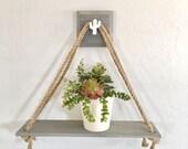 Grey Wooden Swing Shelf with Hanger