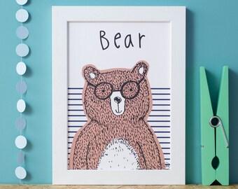 Bear Nursery Room Decor A4 Print..Illustrated Woodland Bear..Art Print..Animal wall art..Kids room Decor..Designed by Corin Beth Designs