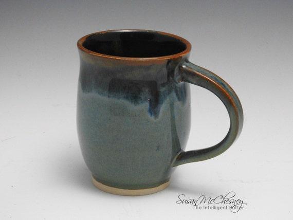 Handcrafted Stoneware Coffee/Tea Mug with Beautiful Blue Around Rim and Handle