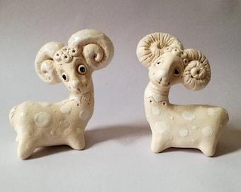 Ceramics handmade white ram, Pottery handmade ram, Handmade animal sculpture, Art deco, Small ram, Ceramics and Pottery, Ceramic sculpture