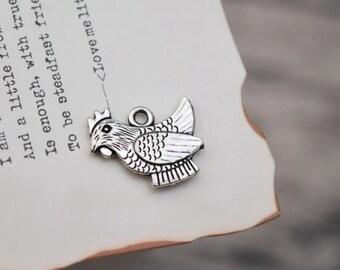 20 antique silver hen charms chicken charm pendant pendants  (X03)