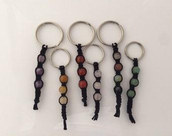 Gemstone Hemp Keychains- Natural & Black Hemp w/ Various Gemstones