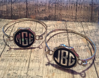 Black/ silver monogram bracelet