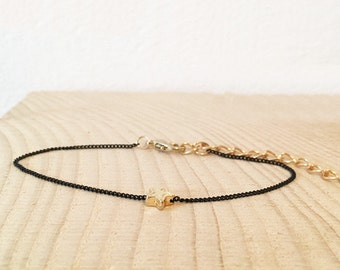 bracelet CASSIOPÉE black chain and little stella gold plated 18K
