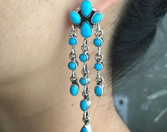 Natural Sleeping Beauty Turquoise Waterfall Chandelier Earrings By Emma Lincoln