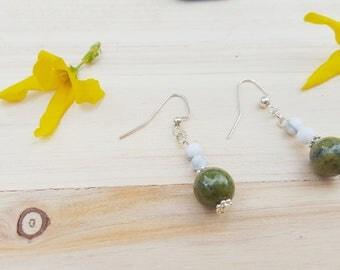 Inner Peace,  Jade and Howlite Dangle Earrings, Beaded Earrings