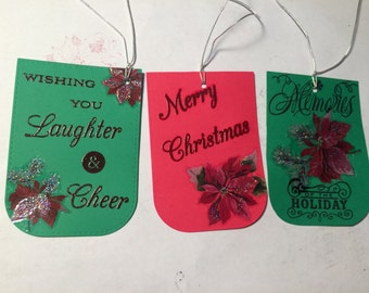 Poinsettia Christmas tags