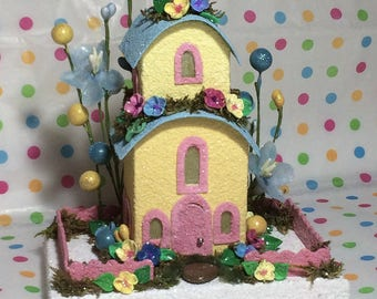 Yellow Blue Springtime Putz House / Glitter House / Fairy House /