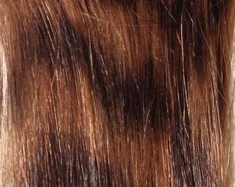 Remy Human Hair Extension Clip in Streak Animal Print Honey Blonde / Dark Brown