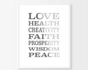 Beige Typography,Printable quote art, Health print, Housewarming gift, Inspirational Wall Art, Grey wall Decor Neutral Art,Love,Beige decor
