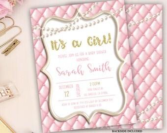 baby shower invitation, pearls baby shower invitation, pink baby shower invitation, glitter and pearls baby shower invitation, girl shower