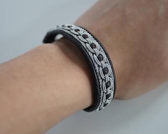 TIN THREAD BRACELET,sami thread,sami bracelet,pewter,reindeer antler button,hand made,leather,black bracelet,unusual gift