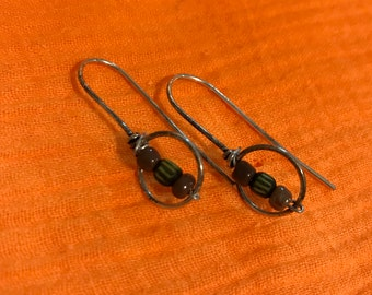 Rustic silver beaded earrings.