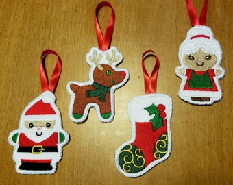Christmas Tree Ornaments, Gift Wrapping Embellishment, Card Insert, Holiday Decoration, Christmas Gift, Office Gift, Santa Reindeer Stocking
