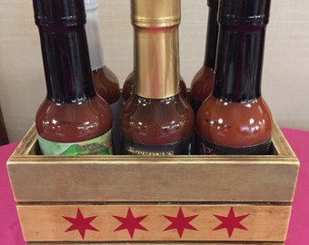 Hot Sauce and Seasoning Caddy ~ Chicago Flag ~ Vintage, handcrafted, crate, gift pack, Bacon Taco, Freak Show, Bhuty Thyme, VooDew HoneyDoo