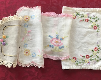 4 Vintage Embroidered Doilies, Cottage Chic Embroidered Doilies, Four Doilies,