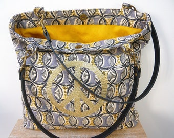 Printed tote bag geometric pattern of peace doubled yellow