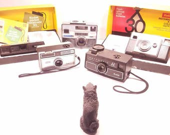 Vintage Kodak Instamatic Camera Collection, Lot of 5; Instamatic 44, 104, Pocket 30, X-30, Instamatic 804, For Display/ Parts (Untested)