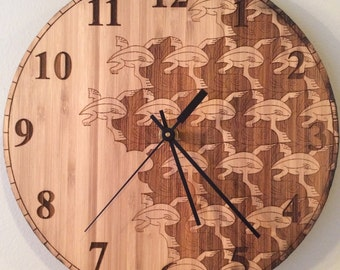 Escher Inspired Frog & Fish Clock