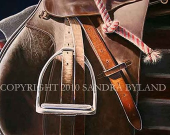 ENGLISH SADDLE ART Horse Art Fine Art Giclee Print Horse Lover Painting English Saddle Signed Print Giclee Horse Art Saddle Painting
