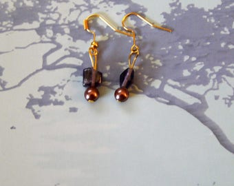 Fancy purple and bronze gold plated earrings