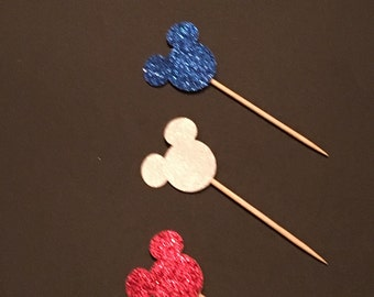 12 Mickey Mouse Cupcake Toppers Glitter Cupcake Toppers Mickey Mouse Birthday Cupcake Toppers Mickey Mouse Baby Shower Cupcake Toppers