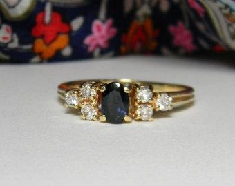 Natural Blue Sapphire Diamond Ring 14K Gold - Classic Vintage Sapphire Diamond Ring 14K - Engagement Ring Option