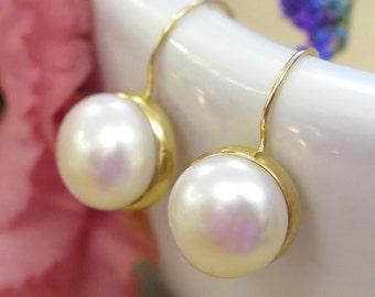14K Pearls and Gold Earrings - White Pearl Earrings - Pearl Drop Earrings - Bridal Earrings - Classic Wedding Earrings - Bridesmaids Jewelry