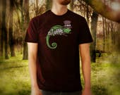 Steampunk Chameleon burgundy t shirt for men, screen printed men's short sleeve tee shirt, Size S, M, L, XL, XXL