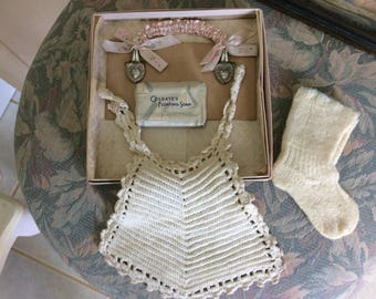 REDUCED! Vintage, Baby Bib and Accessories in Original Box, 1920's, Never Used, Maybe the Cutiest Set You Ever See!!