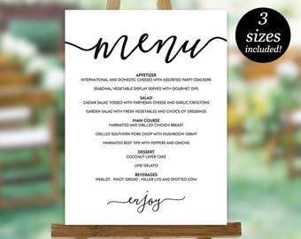 Wedding menu template in four sizes wedding menu poster diy wedding menu sign printable wedding menu template menu poster wedding menu chart pronofoot35fo Gallery