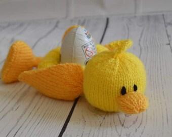 Little Sweetie = Ducky Easter Egg Holder Knitting Pattern, Easter Toy Knitting Pattern, Duck Knitting Pattern, Easter Knitting Pattern