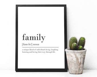 Family Digital Download Print INSTANT DOWNLOAD Definition Print Modern Home Decor Family Definition Digital Nursery Print Art Nursery Decor