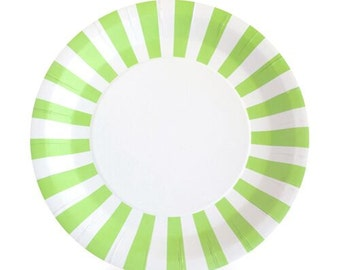 Green Dinner Plates / Stylish Design Plates / Green Striped Party Plates