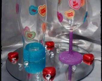 hand decorated valentines glasses