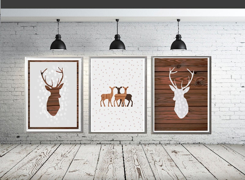 Rustic Wall Decor For Nursery : Deer print set of prints rustic nursery decor by