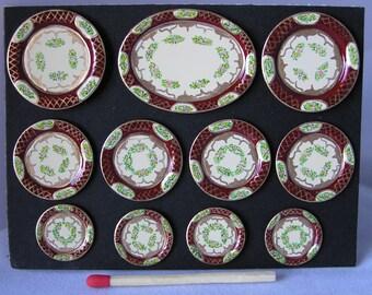 Hand-Painted Dollshouse Miniature Plate Set