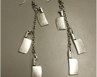Dangle knife earrings, knife earrings, knife jewelry, knives, deadly jewelry, drop earrings, drop knife earrings, three knife earrings