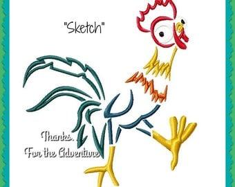 Moana's Rooster (Chicken) Hei Hei Sketch Digital Embroidery Machine Design File 4x4 5x7 6x10