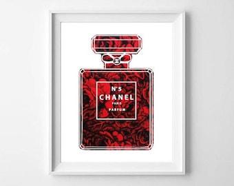 Chanel Print / Mademoiselle Art illustration Print / Wall Art / Home Decor / Fashion Art Poster / Typo Art / Typography / Black & White
