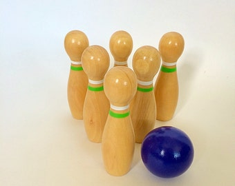 Wooden Skittles, Bowling Pins & Ball, Montessori, Waldorf Educational Toy, Classroom Resource