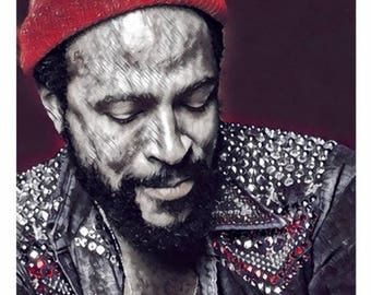 MARVIN GAYE Red Canvas Wall Art