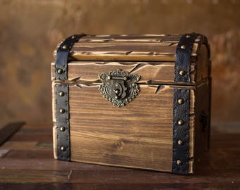 Wooden chest - Pirate chest - wood box -  treasure chest