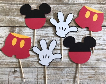 24 Mickey Mouse Cupcake Toppers
