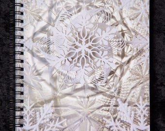 Notebook, Light Wizard Artwork, Christmas, Sacred Geometry, Snow Visionary Art, Photography, Notepad, Snowflake, Diary, Journal, Book