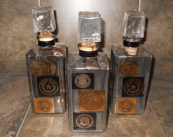 Mid Century Madmen Style Liquor Decanters Set of Three