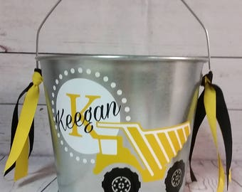 Personalized Bucket - 5 Quart / Gift Basket / Easter Bucket / Beverage Pail /Dump Truck