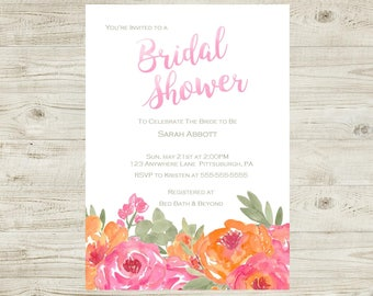Pink and Orange Watercolor Floral - Bridal Shower Invitation - Personalized - Digital