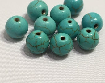 8 mm 10 pc Turquoise Dyed Howlite
